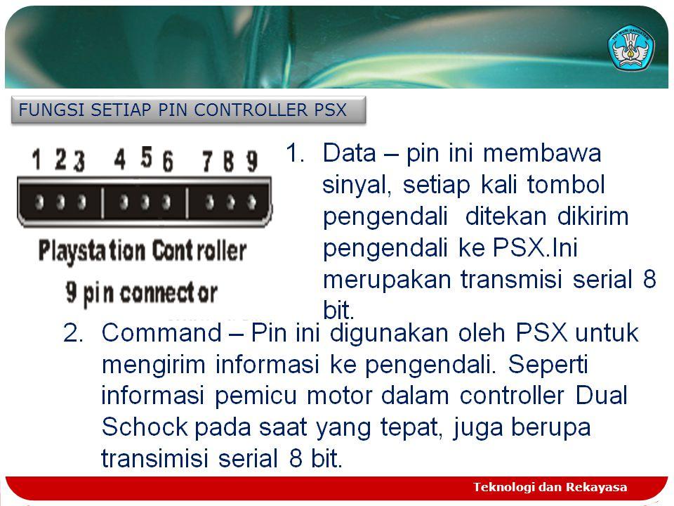 Teknologi dan Rekayasa FUNGSI SETIAP PIN CONTROLLER PSX 1.Data – pin ini membawa sinyal, setiap kali tombol pengendali ditekan dikirim pengendali ke P