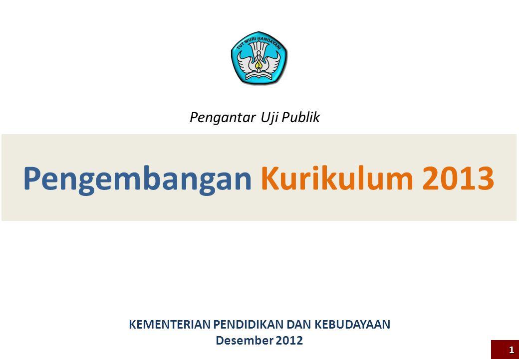 Pengembangan Kurikulum 2013 KEMENTERIAN PENDIDIKAN DAN KEBUDAYAAN Desember 2012 1 Pengantar Uji Publik