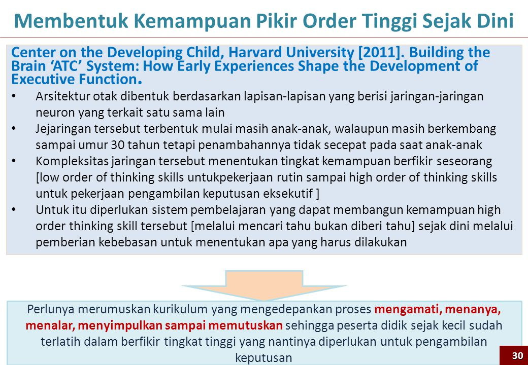 30 Membentuk Kemampuan Pikir Order Tinggi Sejak Dini Center on the Developing Child, Harvard University [2011]. Building the Brain 'ATC' System: How E