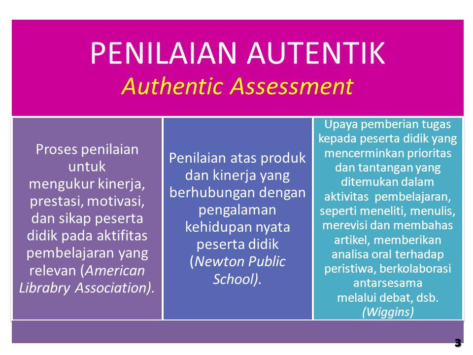 PENILAIAN AUTENTIK Authentic Assessment Proses penilaian untuk mengukur kinerja, prestasi, motivasi, dan sikap peserta didik pada aktifitas pembelajar