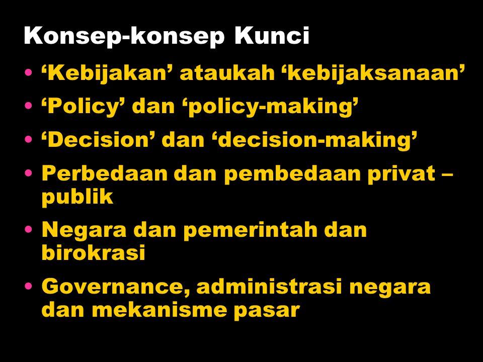 Konsep-konsep Kunci •'Kebijakan' ataukah 'kebijaksanaan' •'Policy' dan 'policy-making' •'Decision' dan 'decision-making' •Perbedaan dan pembedaan priv
