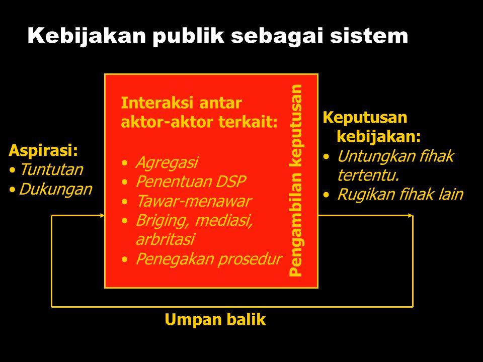 Kebijakan publik sebagai sistem Aspirasi: •Tuntutan •Dukungan Keputusan kebijakan: •Untungkan fihak tertentu. •Rugikan fihak lain Interaksi antar akto