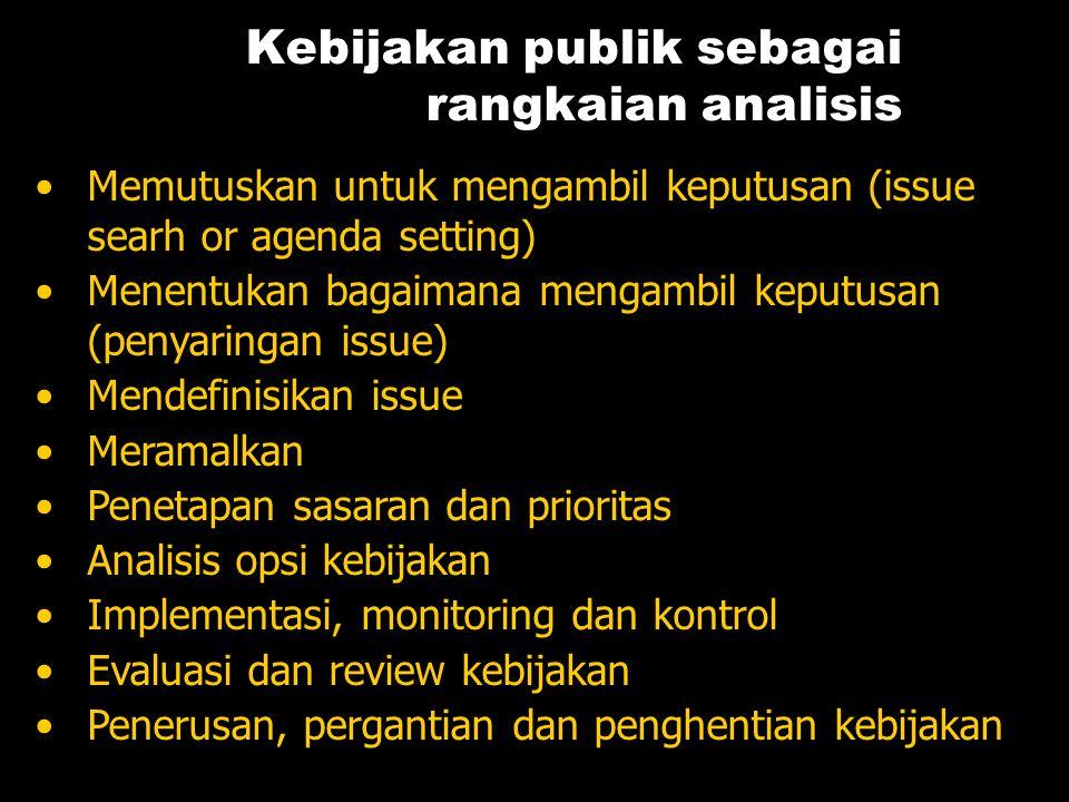 Kebijakan publik sebagai rangkaian analisis •Memutuskan untuk mengambil keputusan (issue searh or agenda setting) •Menentukan bagaimana mengambil kepu