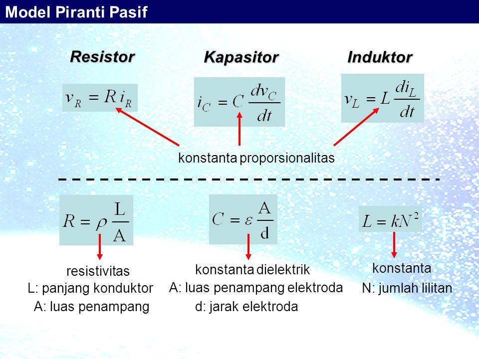Resistor InduktorKapasitor konstanta proporsionalitas resistivitas L: panjang konduktor A: luas penampang konstanta dielektrik d: jarak elektroda A: luas penampang elektroda konstanta N: jumlah lilitan Model Piranti Pasif