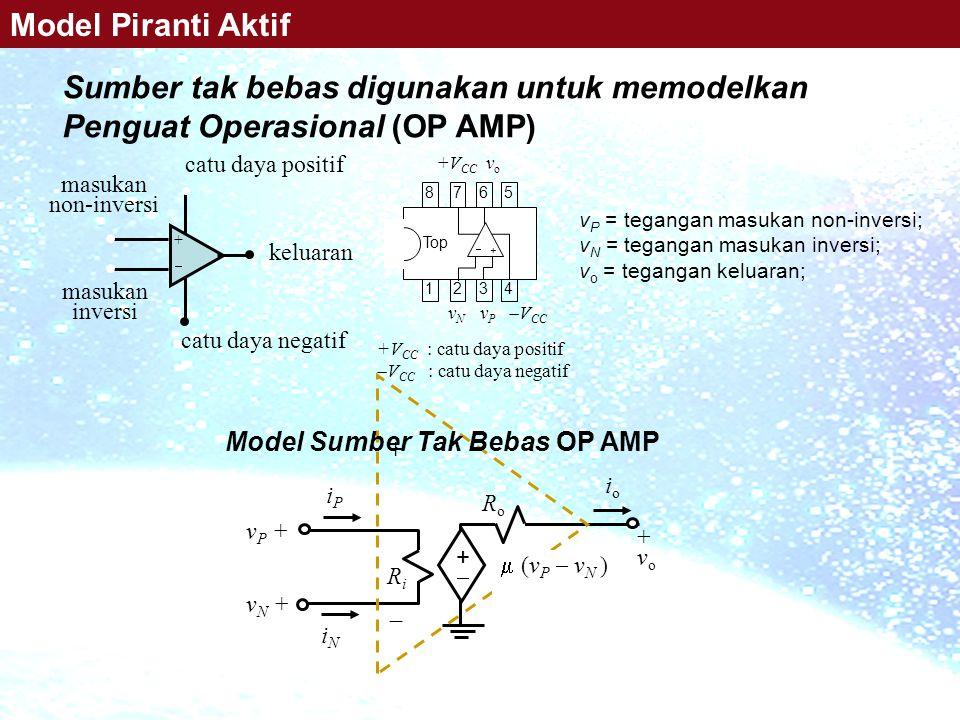Sumber tak bebas digunakan untuk memodelkan Penguat Operasional (OP AMP) ++ catu daya positif catu daya negatif keluaran masukan non-inversi masukan inversi 7272 6363 5454 8181  + v N v P  V CC +V CC v o Top +V CC : catu daya positif  V CC : catu daya negatif v P = tegangan masukan non-inversi; v N = tegangan masukan inversi; v o = tegangan keluaran; Model Piranti Aktif ++ RiRi RoRo + v o iPiP iNiN v P + v N + +  ioio  (v P  v N ) Model Sumber Tak Bebas OP AMP