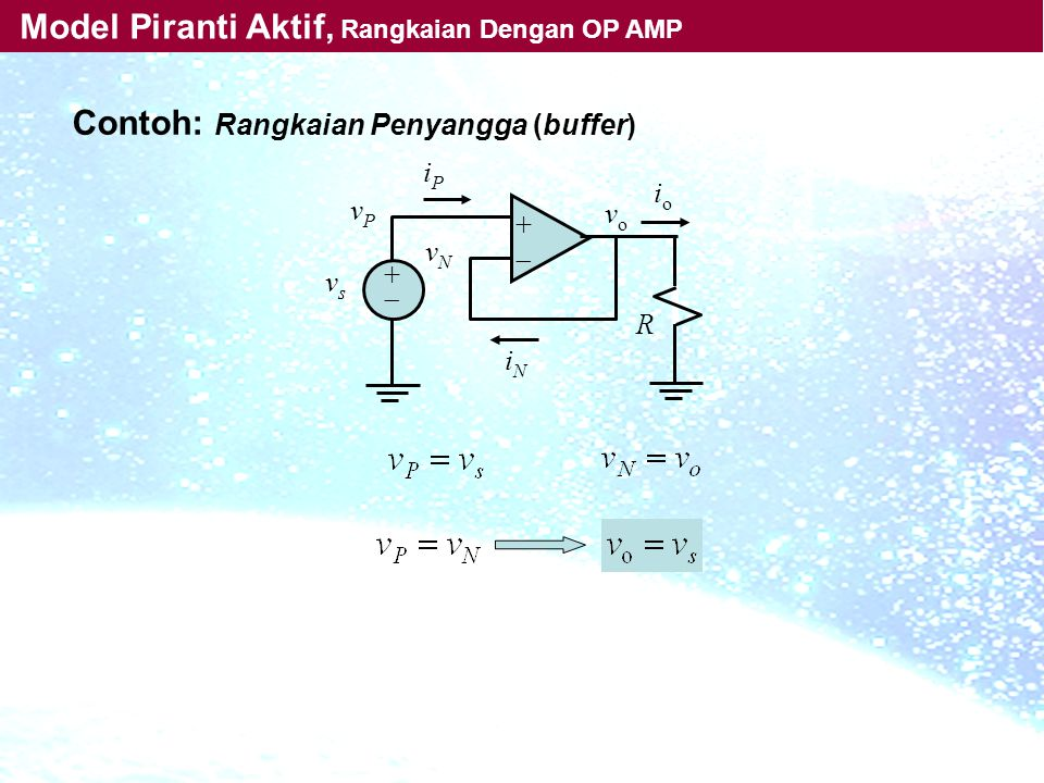 ++ ++ iPiP iNiN vPvP vsvs vNvN R vo vo ioio Contoh: Rangkaian Penyangga (buffer) Model Piranti Aktif, Rangkaian Dengan OP AMP