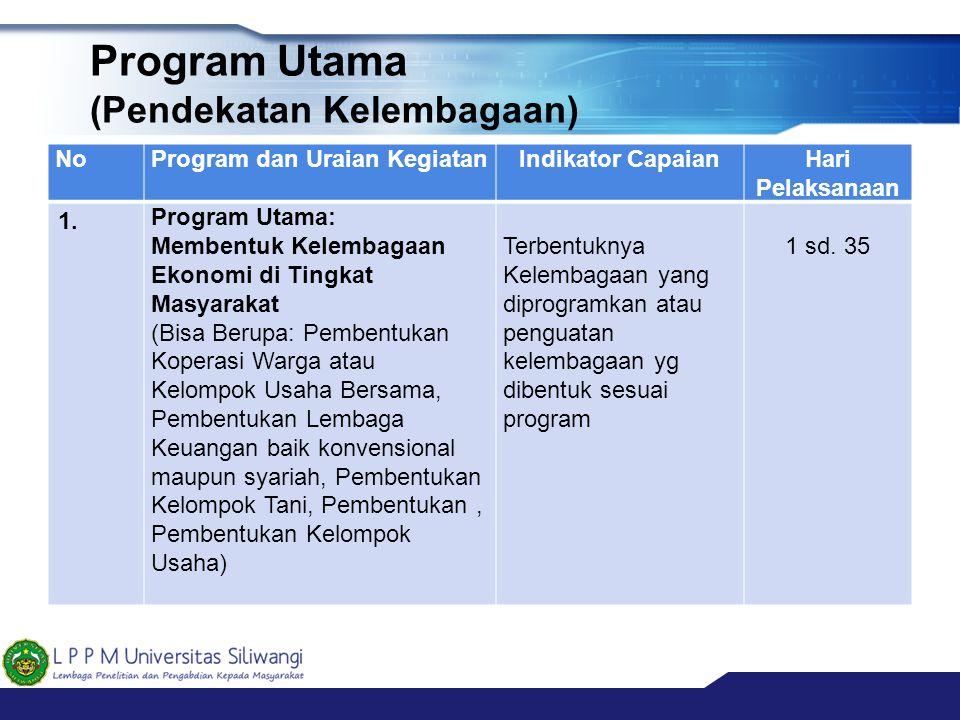 Program Utama (Pendekatan Kelembagaan) NoProgram dan Uraian KegiatanIndikator CapaianHari Pelaksanaan 1. Program Utama: Membentuk Kelembagaan Ekonomi