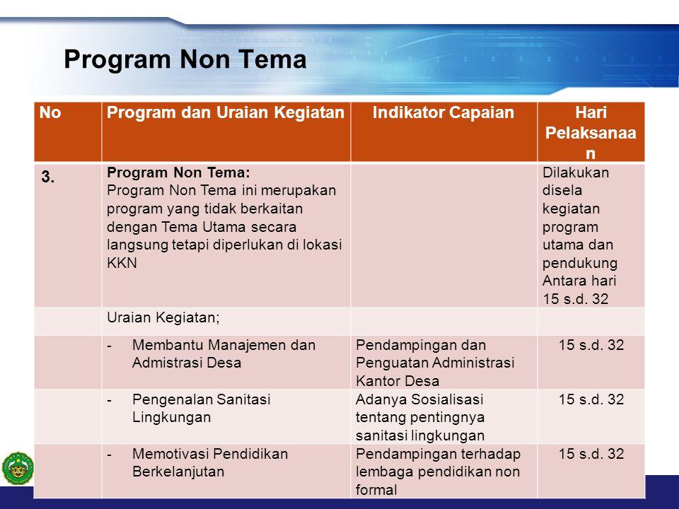 Program Non Tema NoProgram dan Uraian KegiatanIndikator CapaianHari Pelaksanaa n 3. Program Non Tema: Program Non Tema ini merupakan program yang tida