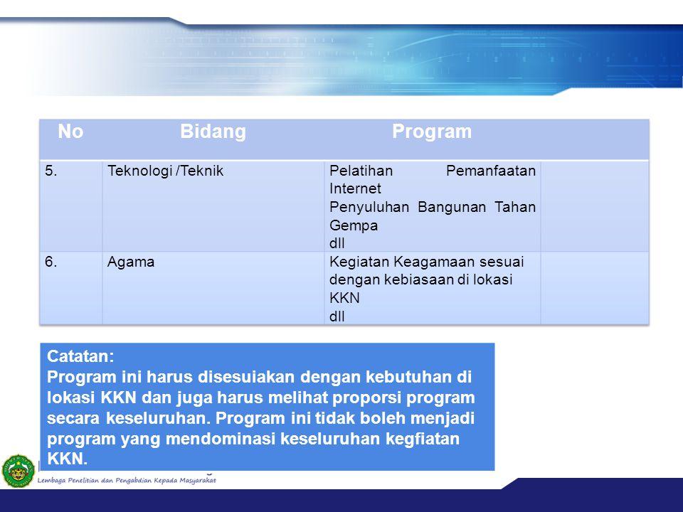 Catatan: Program ini harus disesuiakan dengan kebutuhan di lokasi KKN dan juga harus melihat proporsi program secara keseluruhan. Program ini tidak bo