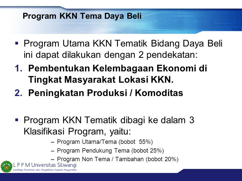 Program KKN Tema Daya Beli  Program Utama KKN Tematik Bidang Daya Beli ini dapat dilakukan dengan 2 pendekatan: 1.Pembentukan Kelembagaan Ekonomi di