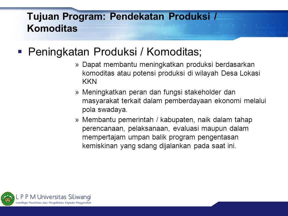 Tujuan Program: Pendekatan Produksi / Komoditas  Peningkatan Produksi / Komoditas; »Dapat membantu meningkatkan produksi berdasarkan komoditas atau p