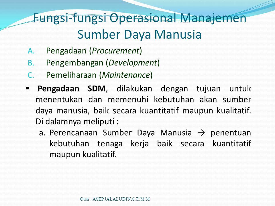 Fungsi-fungsi Operasional Manajemen Sumber Daya Manusia A. Pengadaan (Procurement) B. Pengembangan (Development) C. Pemeliharaan (Maintenance)  Penga