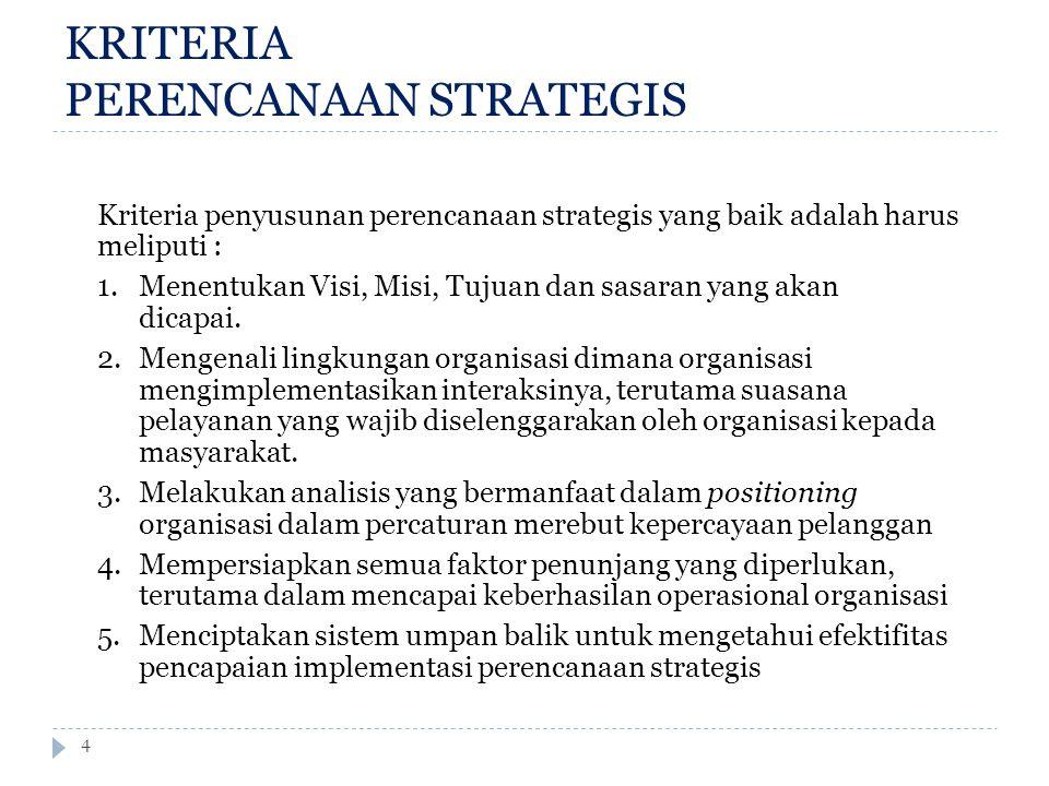 KRITERIA PERENCANAAN STRATEGIS 4 Kriteria penyusunan perencanaan strategis yang baik adalah harus meliputi : 1. Menentukan Visi, Misi, Tujuan dan sasa