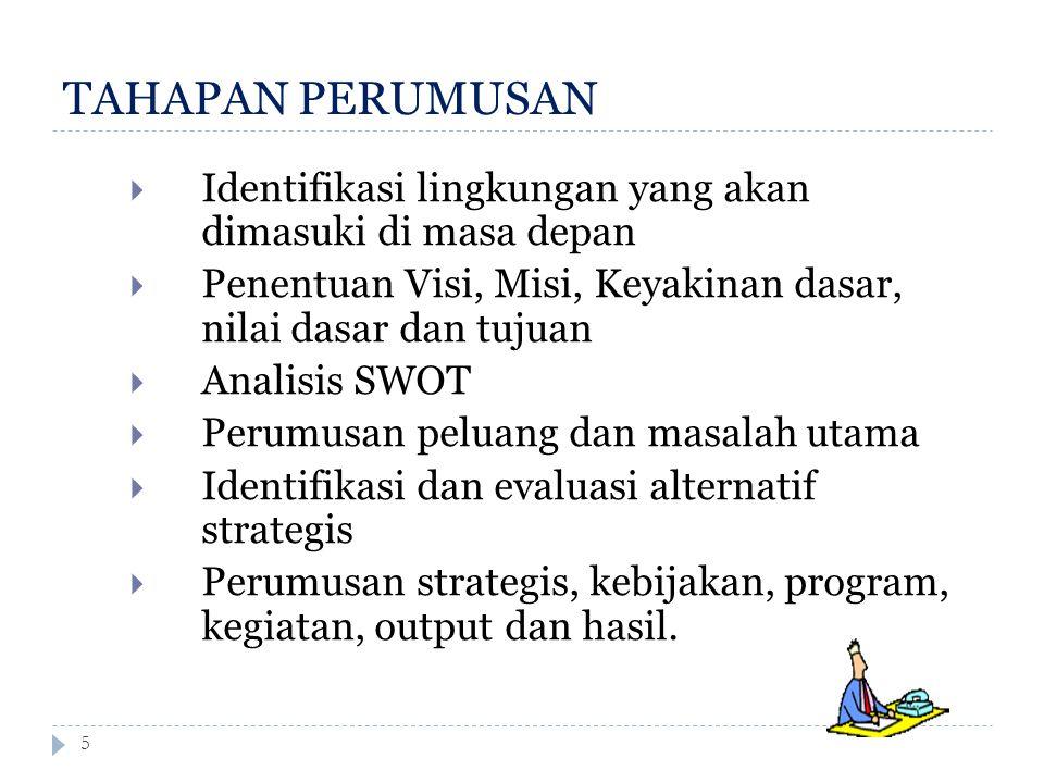 TAHAPAN PERUMUSAN 5  Identifikasi lingkungan yang akan dimasuki di masa depan  Penentuan Visi, Misi, Keyakinan dasar, nilai dasar dan tujuan  Anali