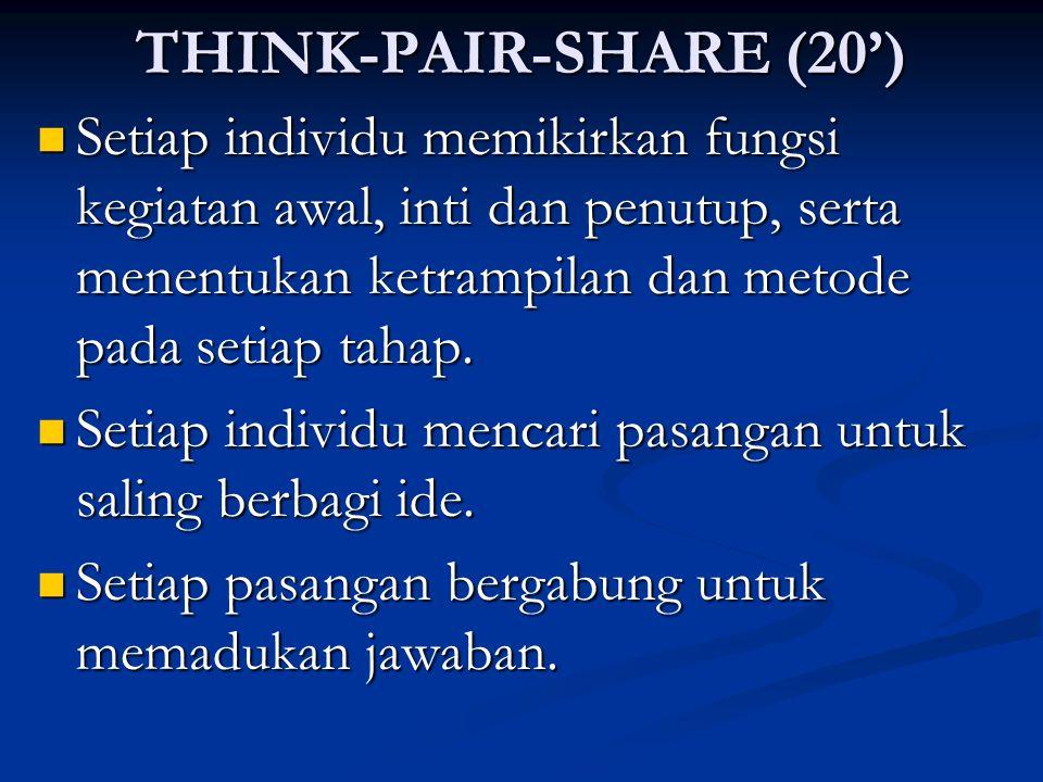 THINK-PAIR-SHARE (20')  Setiap individu memikirkan fungsi kegiatan awal, inti dan penutup, serta menentukan ketrampilan dan metode pada setiap tahap.