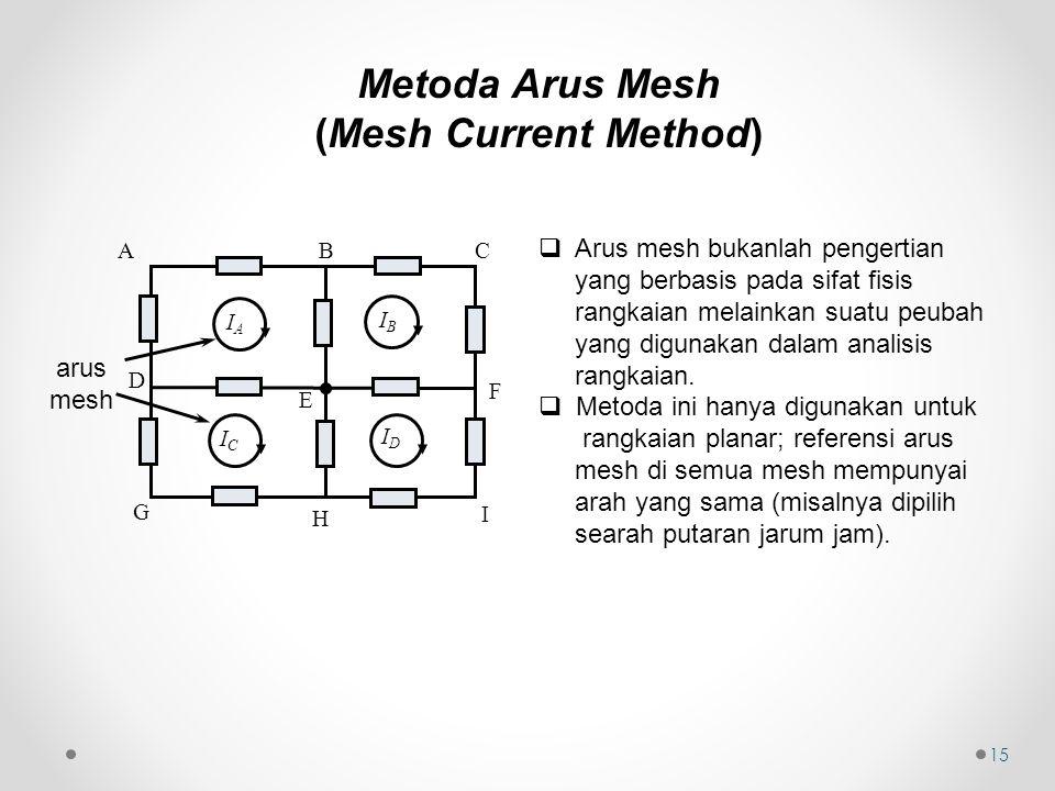 15  Arus mesh bukanlah pengertian yang berbasis pada sifat fisis rangkaian melainkan suatu peubah yang digunakan dalam analisis rangkaian.  Metoda i