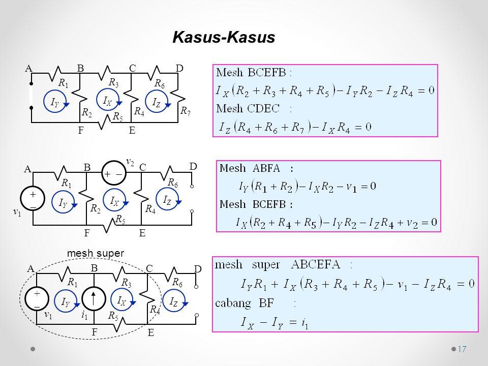 17 Kasus-Kasus R2R2 IZIZ R3R3 R5R5 R4R4 R1R1 R6R6 R7R7 BC EF AD IXIX IYIY R2R2 ++ R5R5 R4R4 R1R1 R6R6 v1v1 BC EF A D v2v2 +  IYIY IXIX IZIZ mesh super R3R3 ++ R5R5 R4R4 R1R1 R6R6 v1v1 B C E F A D i1i1 IYIY IXIX IZIZ