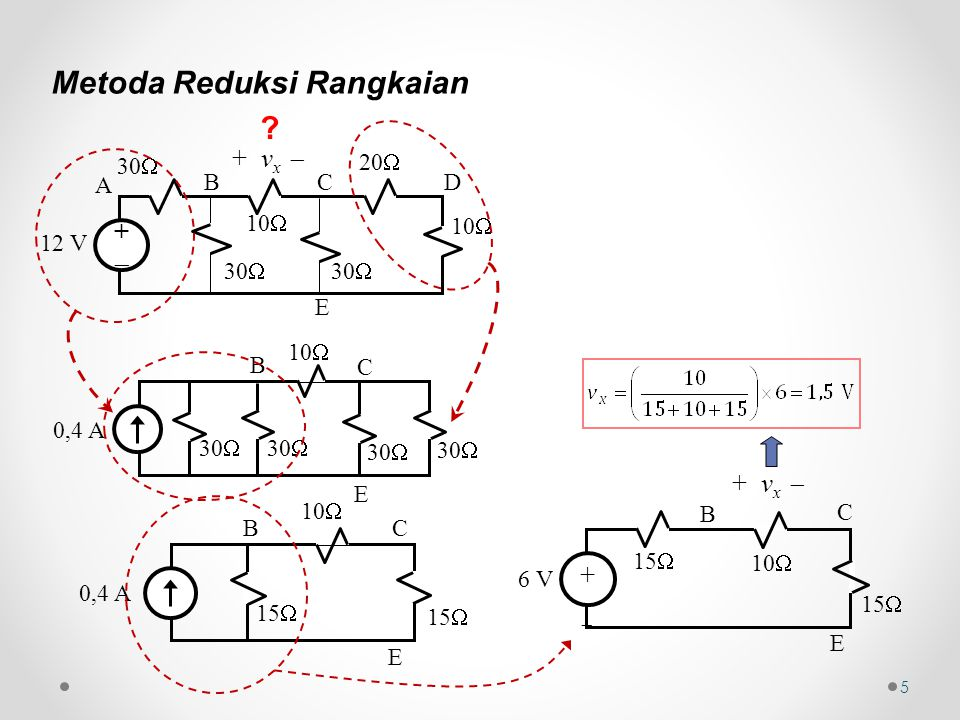 5 Metoda Reduksi Rangkaian ++ 12 V 30  10  30  10  20  + v x  A BC D E 10  30  0,4 A 30  B C E 10  0,4 A 15  BC E 6 V 10  15  ++ + v x  E C B