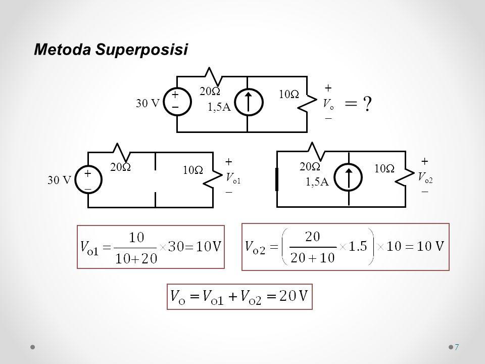 8 Metoda Rangkaian Ekivalen Thévenin i1i1 i3i3 30 V 20  10  i2i2 +v0+v0 + _ A B A Lepaskan beban di AB, sehingga AB terbuka, i 3 = 0 A B 15 V 20  10  +v0+v0 + _ = ?