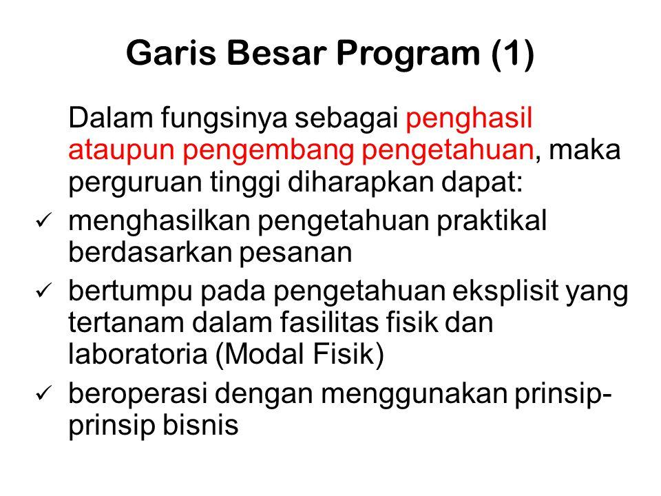 Garis Besar Program (1) Dalam fungsinya sebagai penghasil ataupun pengembang pengetahuan, maka perguruan tinggi diharapkan dapat:  menghasilkan penge