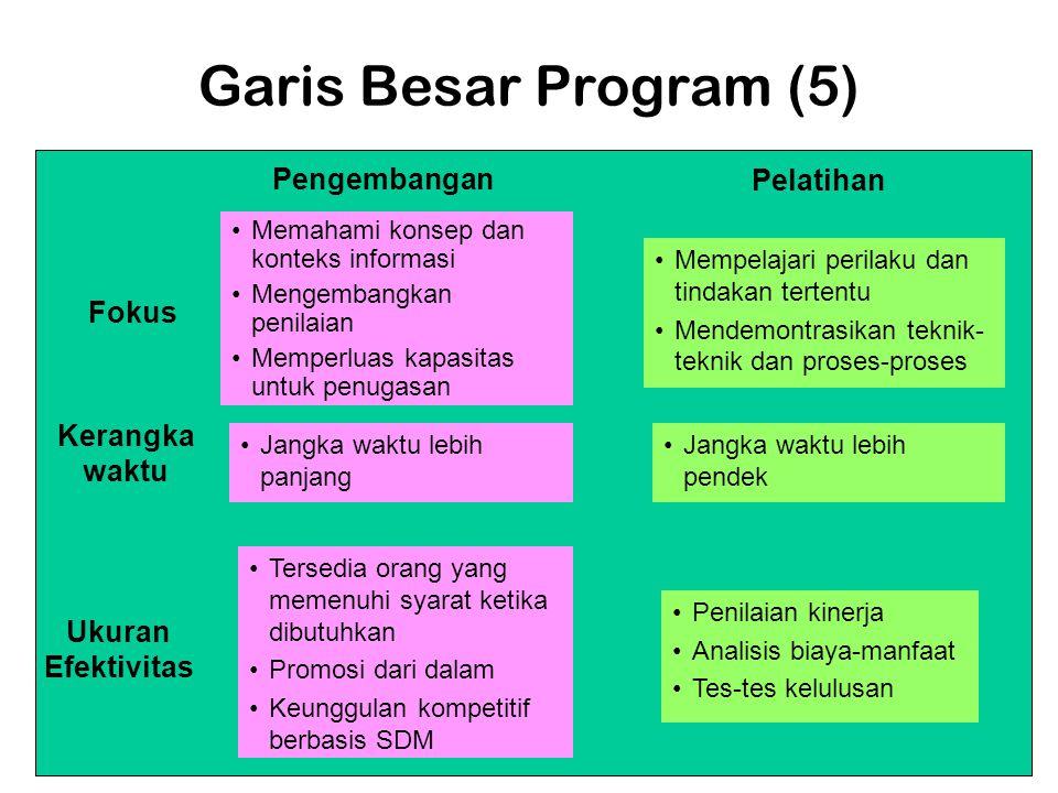 Garis Besar Program (5) •Memahami konsep dan konteks informasi •Mengembangkan penilaian •Memperluas kapasitas untuk penugasan •Tersedia orang yang mem