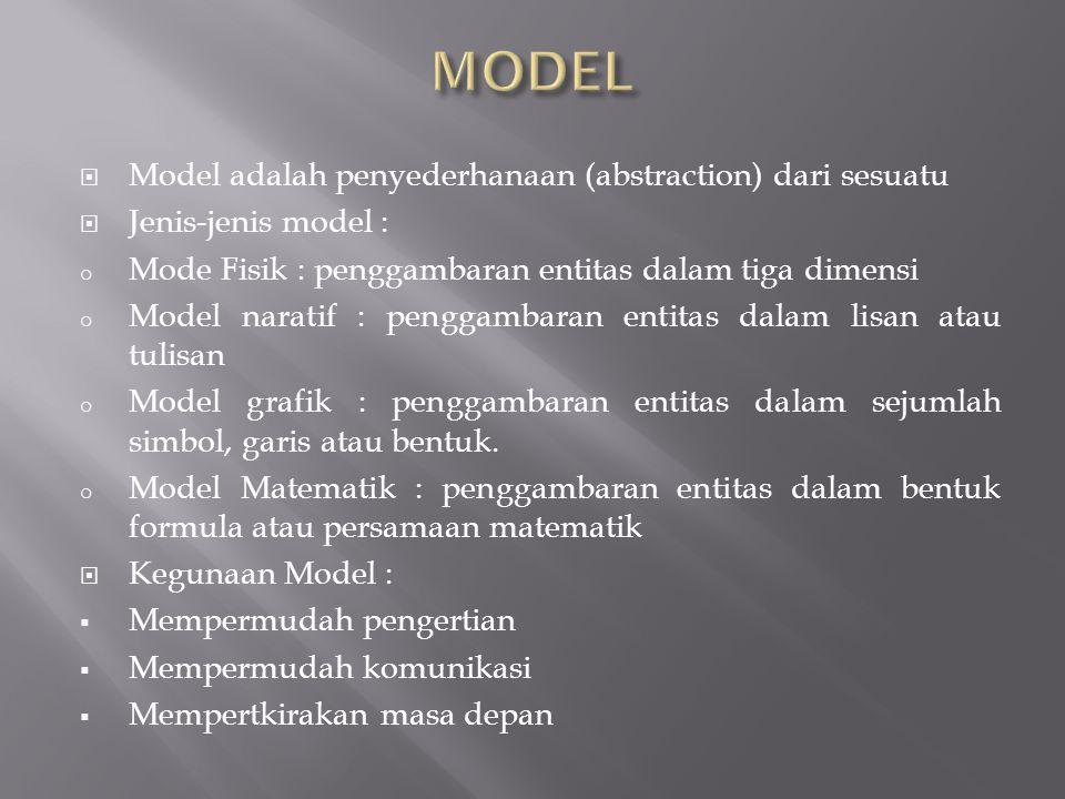  Model adalah penyederhanaan (abstraction) dari sesuatu  Jenis-jenis model : o Mode Fisik : penggambaran entitas dalam tiga dimensi o Model naratif