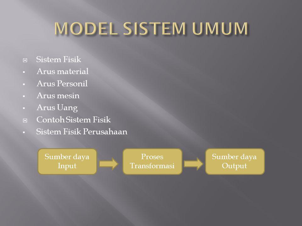  Sistem Fisik  Arus material  Arus Personil  Arus mesin  Arus Uang  Contoh Sistem Fisik  Sistem Fisik Perusahaan Sumber daya Input Sumber daya