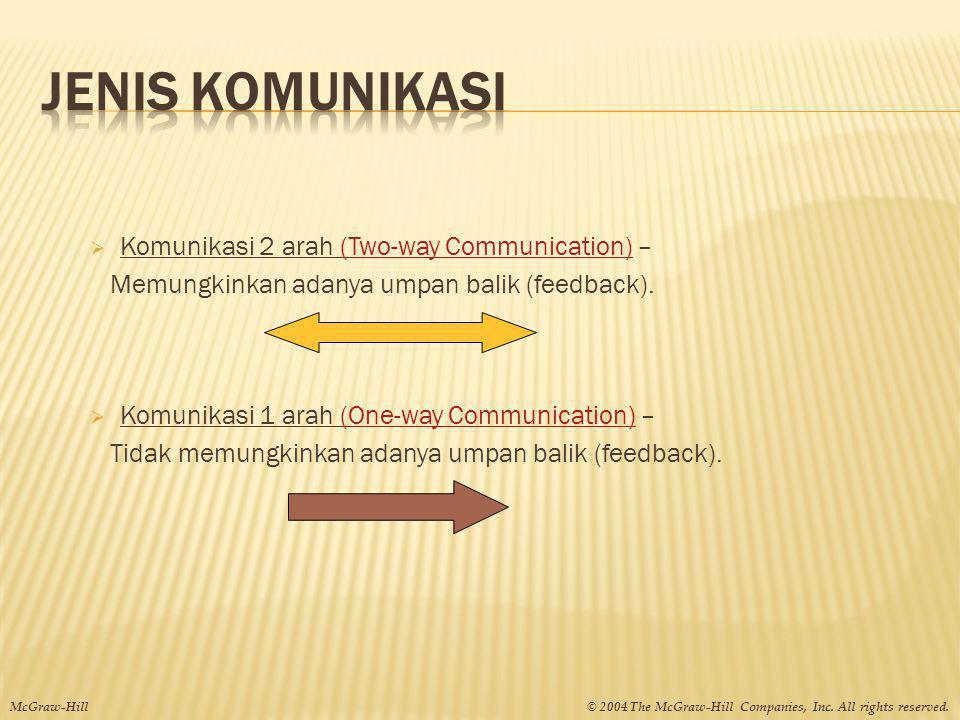  Komunikasi 2 arah (Two-way Communication) – Memungkinkan adanya umpan balik (feedback).  Komunikasi 1 arah (One-way Communication) – Tidak memungki