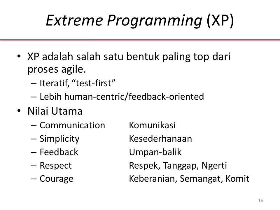 Extreme Programming (XP) • XP adalah salah satu bentuk paling top dari proses agile.
