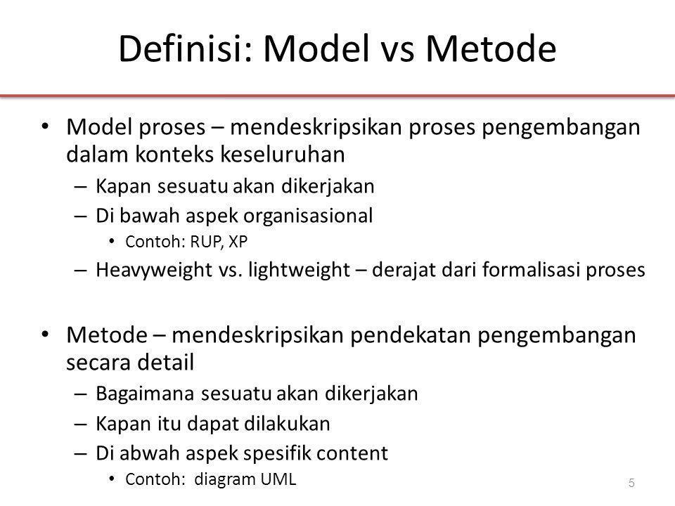 Definisi: Model vs Metode • Model proses – mendeskripsikan proses pengembangan dalam konteks keseluruhan – Kapan sesuatu akan dikerjakan – Di bawah aspek organisasional • Contoh: RUP, XP – Heavyweight vs.