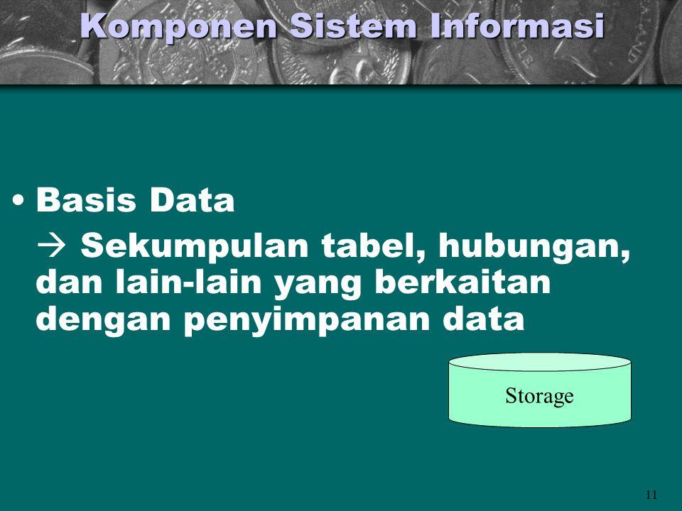 11 Komponen Sistem Informasi •Basis Data  Sekumpulan tabel, hubungan, dan lain-lain yang berkaitan dengan penyimpanan data Storage