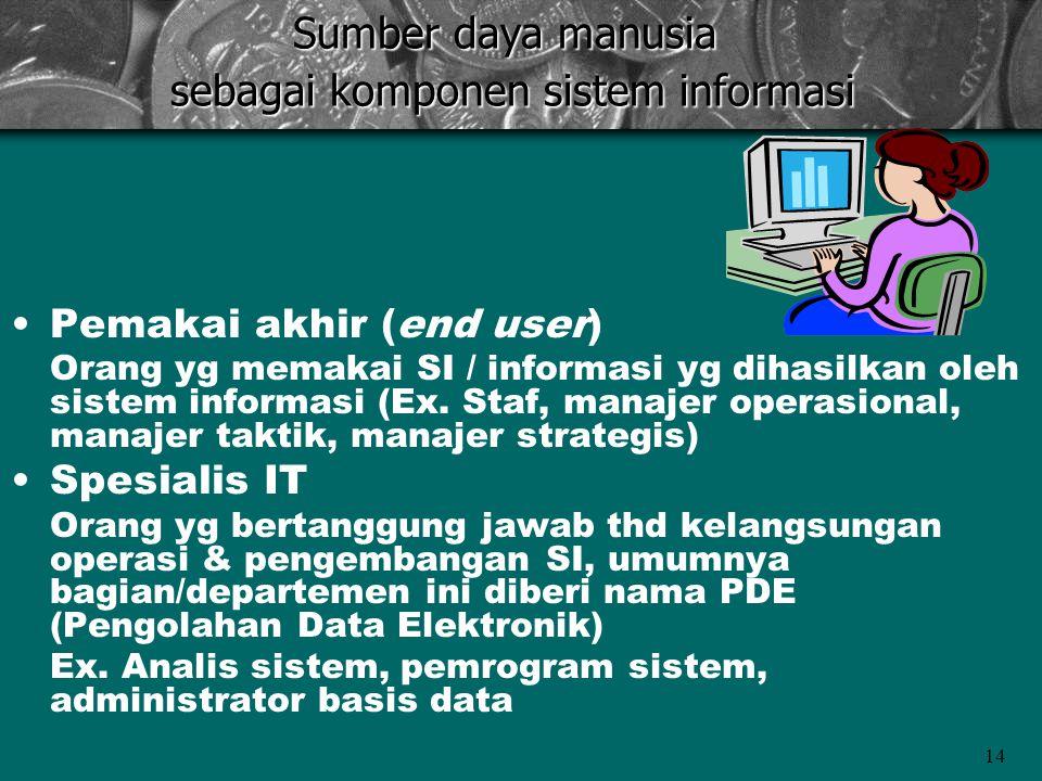 14 •Pemakai akhir (end user) Orang yg memakai SI / informasi yg dihasilkan oleh sistem informasi (Ex.