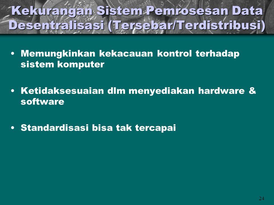 24 Kekurangan Sistem Pemrosesan Data Desentralisasi (Tersebar/Terdistribusi) •Memungkinkan kekacauan kontrol terhadap sistem komputer •Ketidaksesuaian dlm menyediakan hardware & software •Standardisasi bisa tak tercapai
