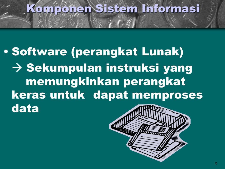 9 Komponen Sistem Informasi •Software (perangkat Lunak)  Sekumpulan instruksi yang memungkinkan perangkat keras untuk dapat memproses data