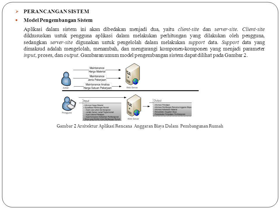  PERANCANGAN SISTEM  Model Pengembangan Sistem Aplikasi dalam sistem ini akan dibedakan menjadi dua, yaitu client-site dan server-site. Client-site