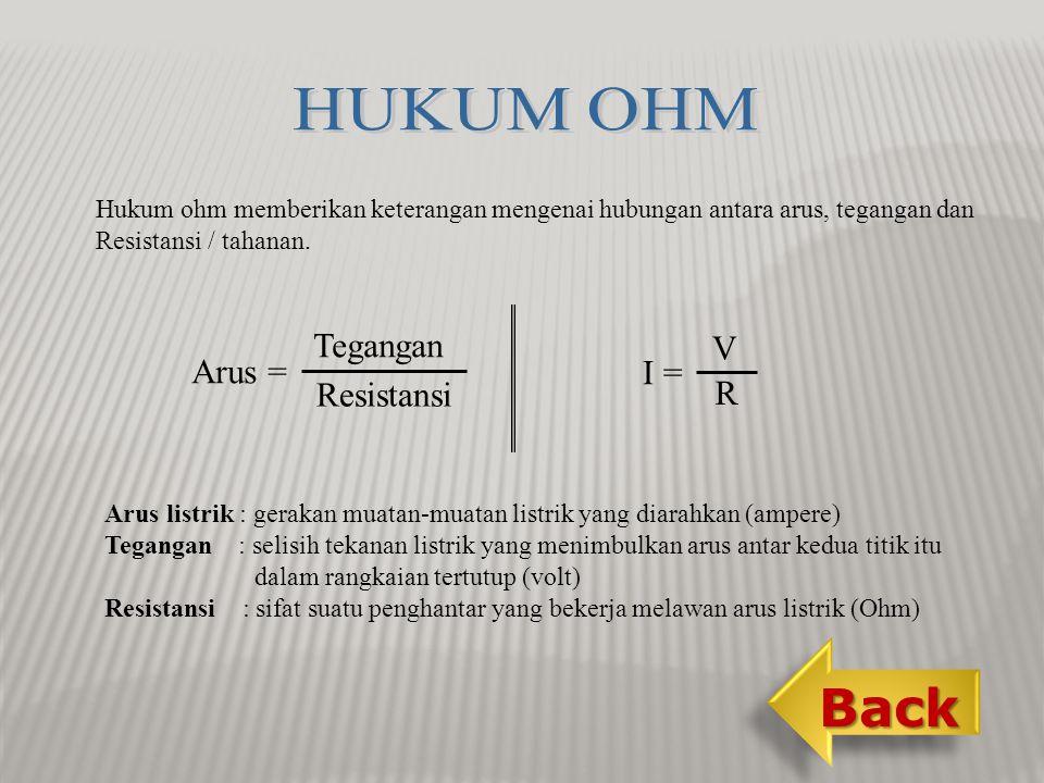 Hukum ohm memberikan keterangan mengenai hubungan antara arus, tegangan dan Resistansi / tahanan.