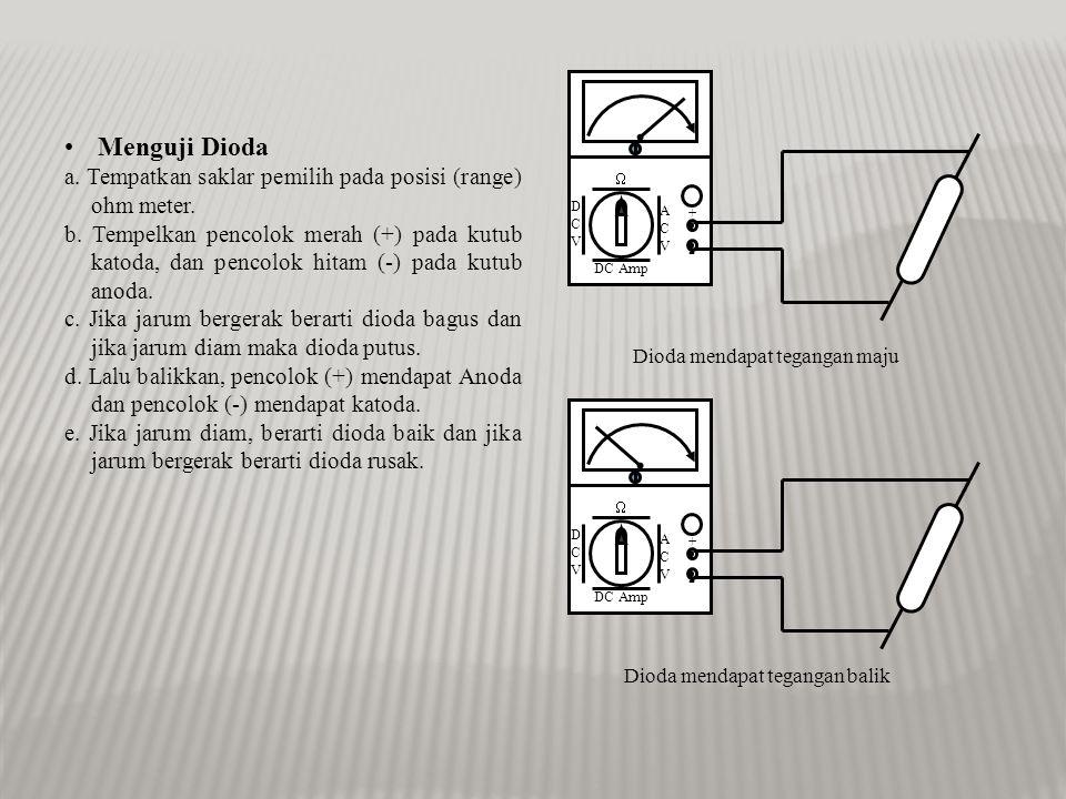 • Menguji Resistor (R) a.Tempatkan saklar pemilih pada posisi (range) ohm meter.