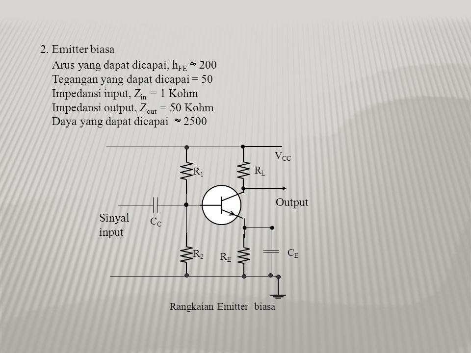 1. Basis biasa Arus yang dapat dicapai, h FB  0,99 Tegangan yang dapat dicapai = 50 Impedansi input, Z in = 50 ohm Impedansi output, Z out = 250 Kohm