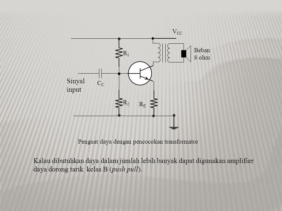 Penguat Daya M Z out Z beban Penguat daya Beban (motor,speaker,dsb) Daya maksimum ditransfer dari sebuah sumber ke beban ketika Z out = Z beban Derajat pencocokan impedansi dapat dilakukan dengan memakai transformator.