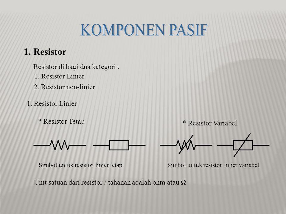 1.Resistor Resistor di bagi dua kategori : 1. Resistor Linier 2.