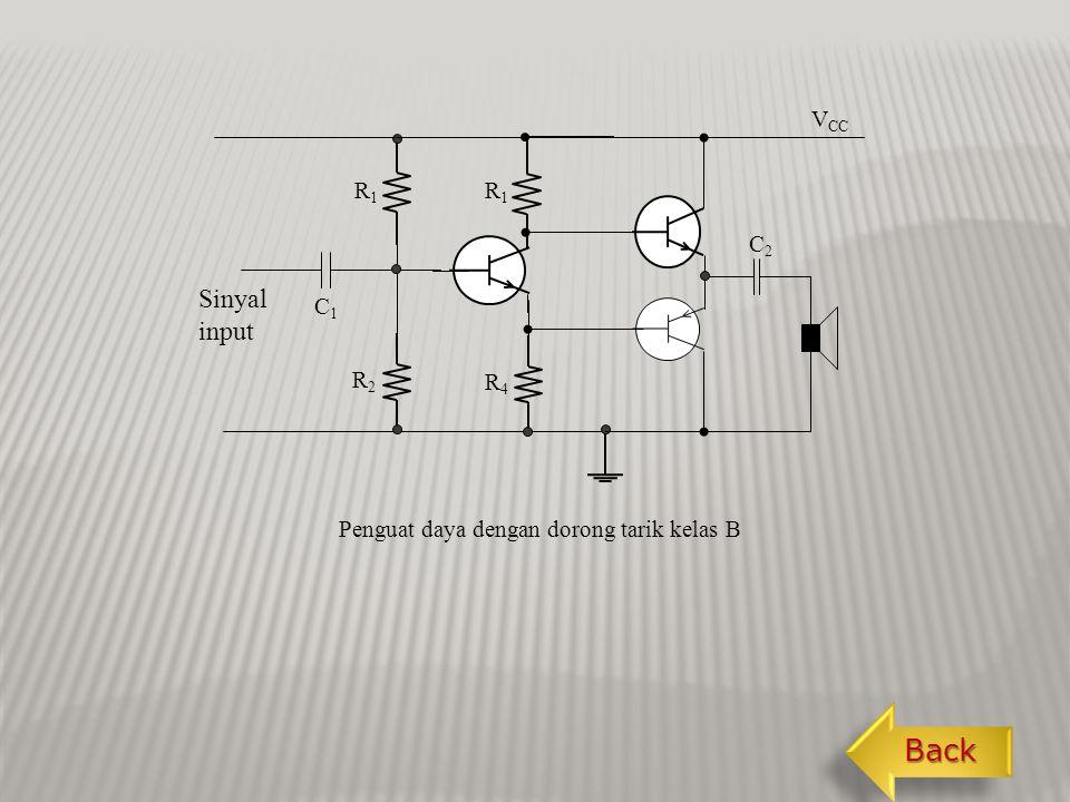 Kalau dibutuhkan daya dalam jumlah lebih banyak dapat digunakan amplifier daya dorong tarik kelas B (push pull).