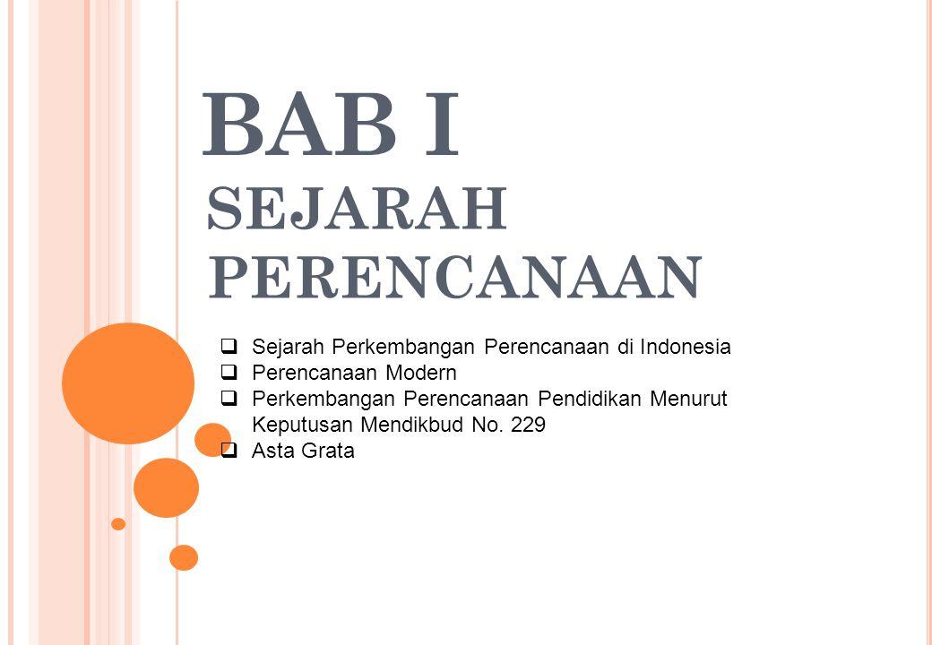 SEJARAH PERKEMBANGAN PERENCANAAN DI INDONESIA Perencanaan tertulis secara ilmiah di Indonesia diawali pada tahun  1947 dimana Soekarno membentuk : Panitia pemikir siasat ekonomi yang diketahui oleh Drs.