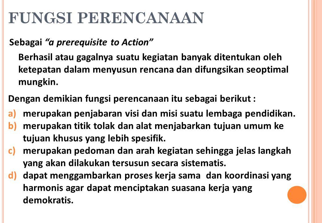 """FUNGSI PERENCANAAN Sebagai """"a prerequisite to Action"""" Berhasil atau gagalnya suatu kegiatan banyak ditentukan oleh ketepatan dalam menyusun rencana da"""