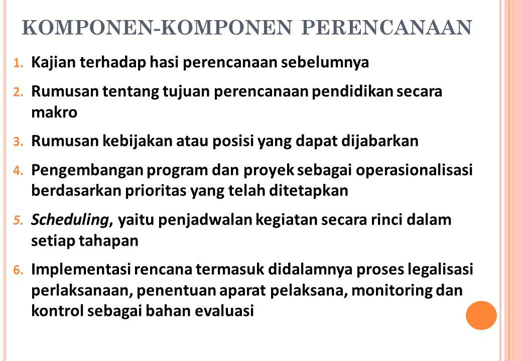 KOMPONEN-KOMPONEN PERENCANAAN 1. Kajian terhadap hasi perencanaan sebelumnya 2. Rumusan tentang tujuan perencanaan pendidikan secara makro 3. Rumusan