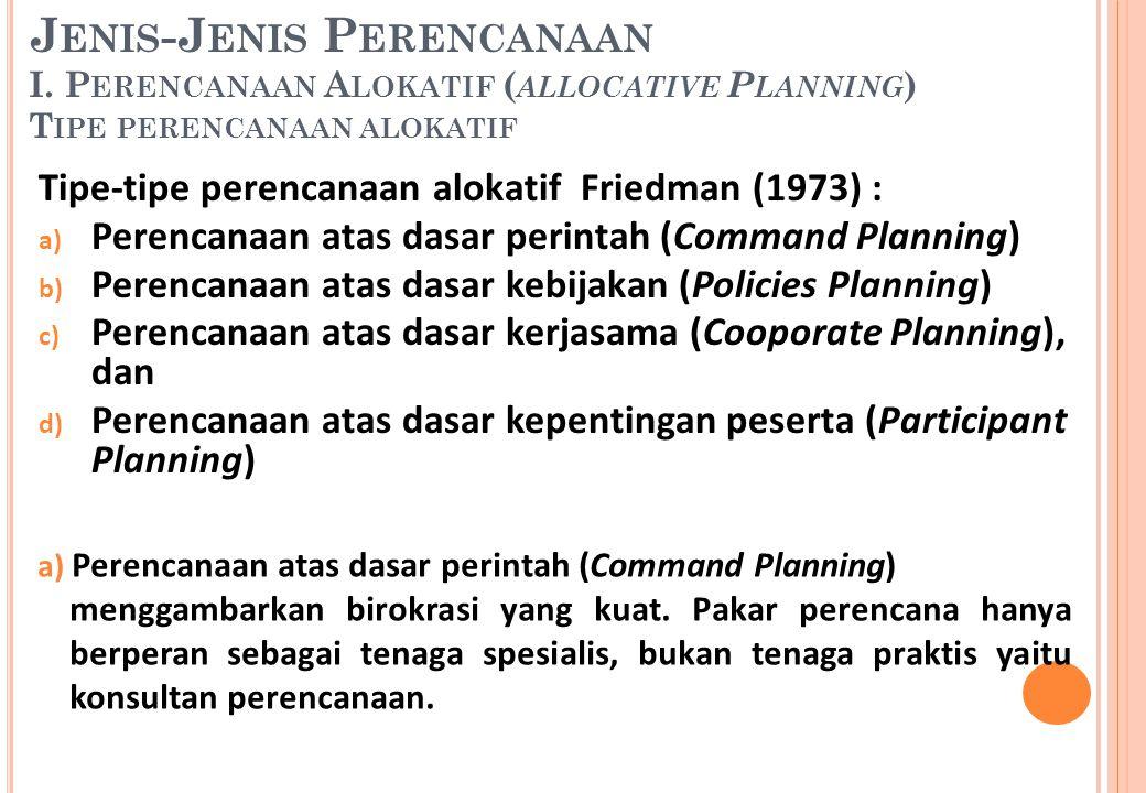 Tipe-tipe perencanaan alokatif Friedman (1973) : a) Perencanaan atas dasar perintah (Command Planning) b) Perencanaan atas dasar kebijakan (Policies P