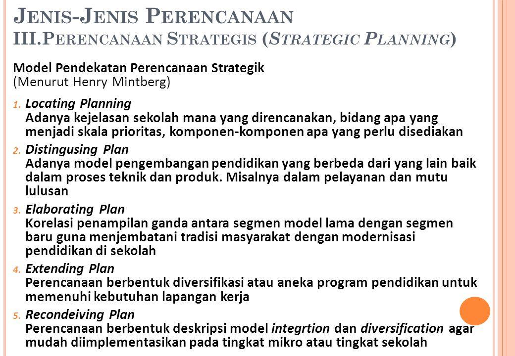 Model Pendekatan Perencanaan Strategik (Menurut Henry Mintberg) 1. Locating Planning Adanya kejelasan sekolah mana yang direncanakan, bidang apa yang