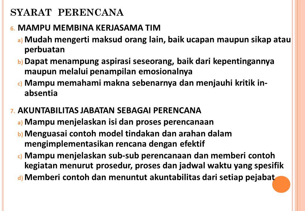 SYARAT PERENCANA 6. MAMPU MEMBINA KERJASAMA TIM a) Mudah mengerti maksud orang lain, baik ucapan maupun sikap atau perbuatan b) Dapat menampung aspira