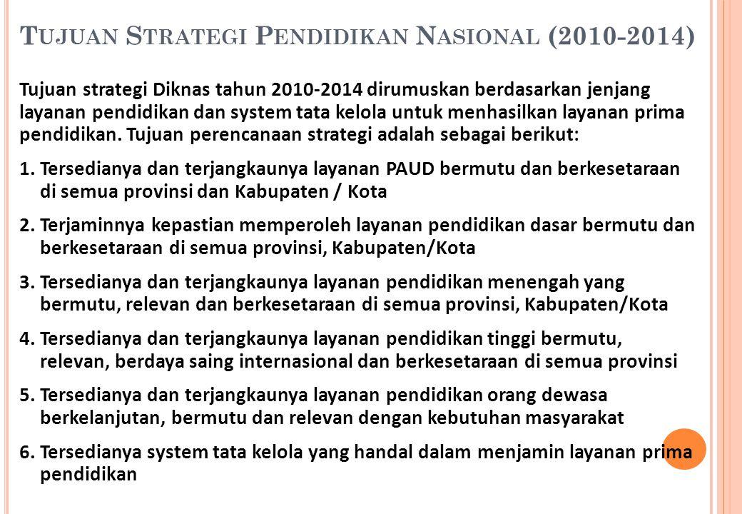 T UJUAN S TRATEGI P ENDIDIKAN N ASIONAL (2010-2014) Tujuan strategi Diknas tahun 2010-2014 dirumuskan berdasarkan jenjang layanan pendidikan dan syste