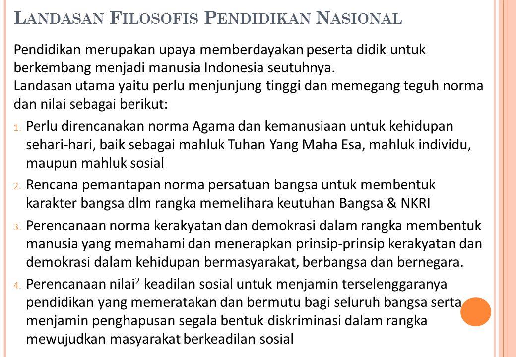 L ANDASAN F ILOSOFIS P ENDIDIKAN N ASIONAL Pendidikan merupakan upaya memberdayakan peserta didik untuk berkembang menjadi manusia Indonesia seutuhnya