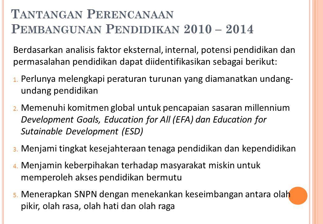 T ANTANGAN P ERENCANAAN P EMBANGUNAN P ENDIDIKAN 2010 – 2014 Berdasarkan analisis faktor eksternal, internal, potensi pendidikan dan permasalahan pend